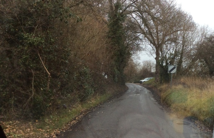 Quiet country lane in winter