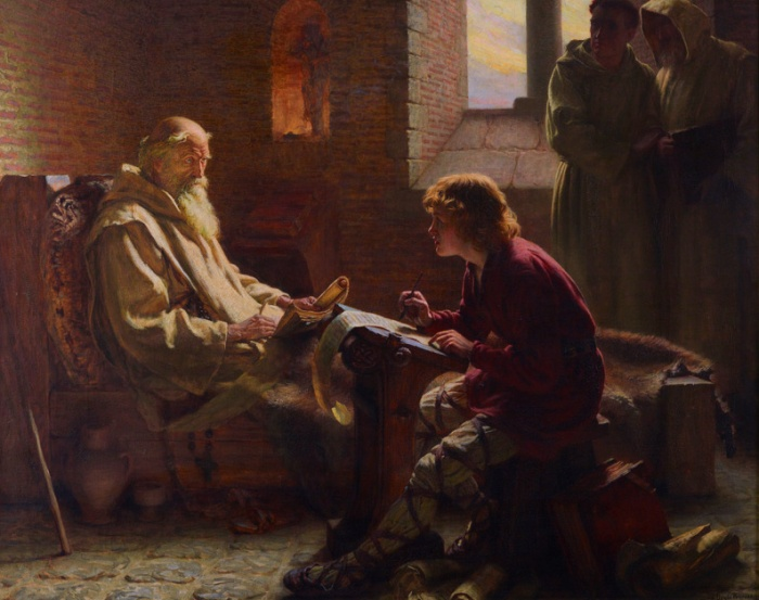 Oil painting of Bede translating the Gospel of John.