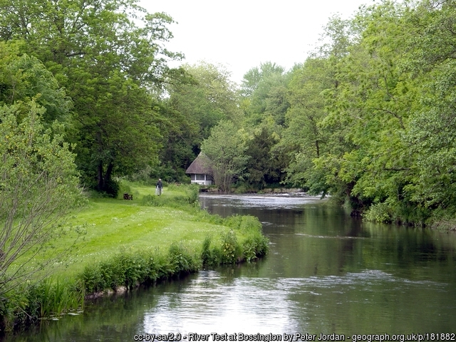 Hampshire chalk stream and fisherman's hut.