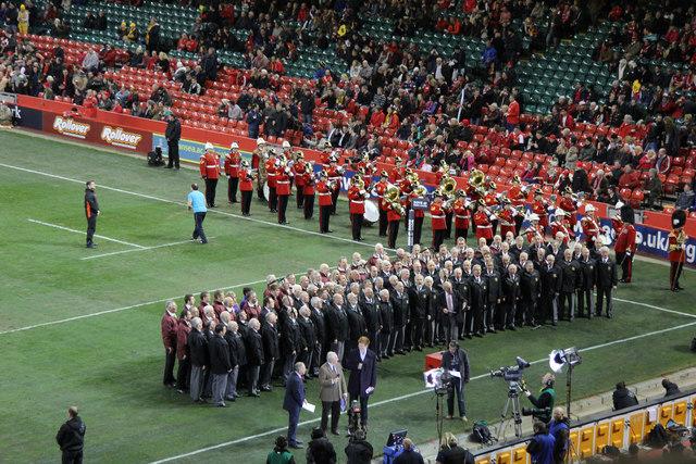 Choir singing at Wales' International rugby match