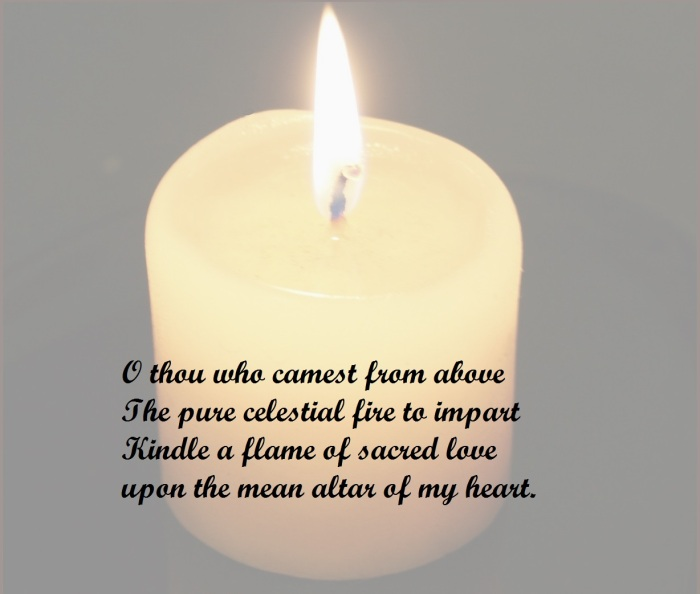 Burning candle with text