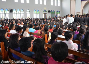 A crowded Mizo church in NE India