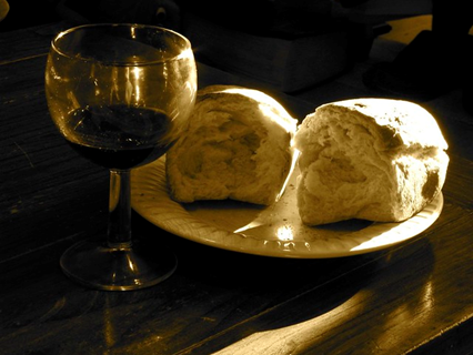 Bread and wine for Holy Communion