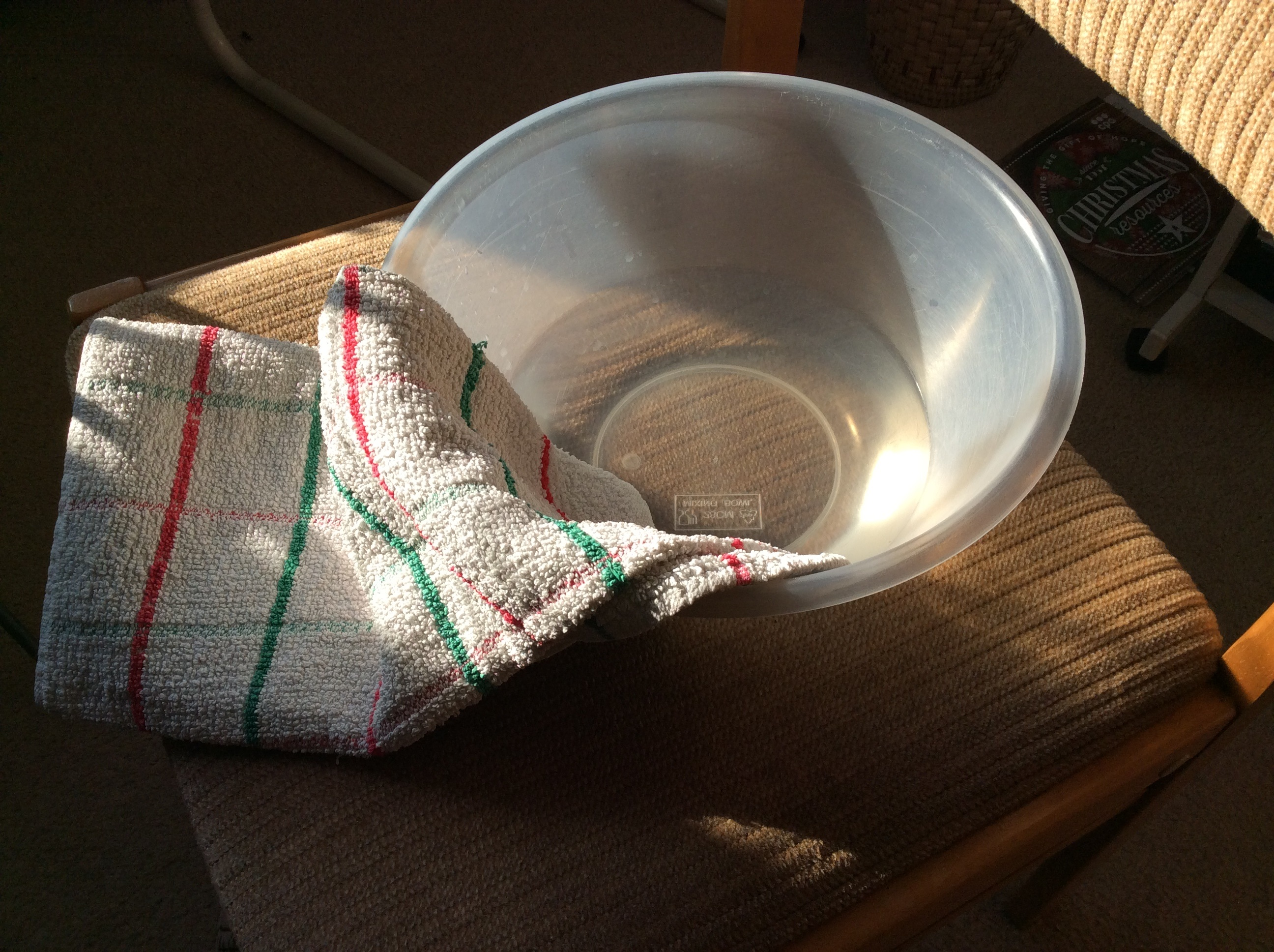 bowl and towel for washing