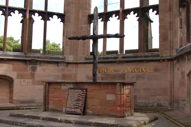 Charred cross in ruined Coventry Cathedral