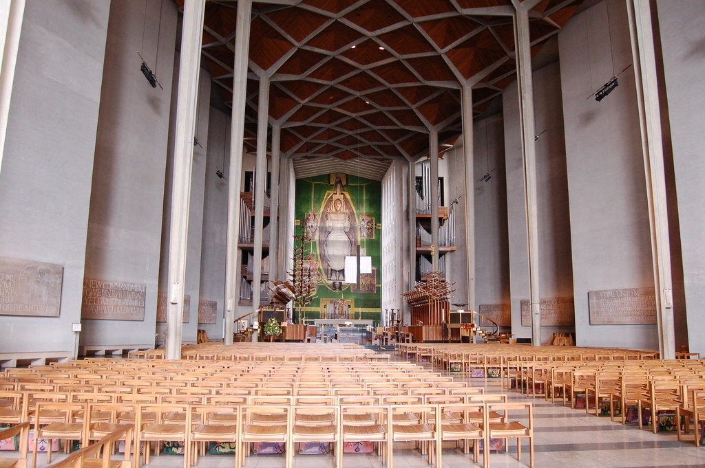 In he Nave of new coventry Cathedral