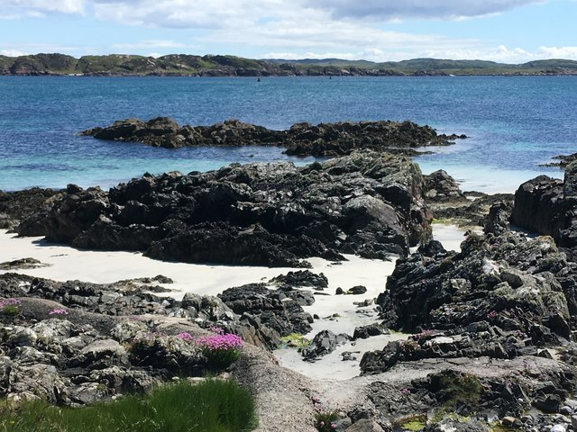 Rocky shore of Iona island