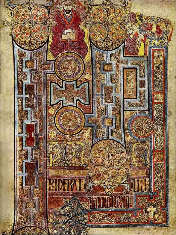 Beautiful ancient manuscript from the Book of Kells