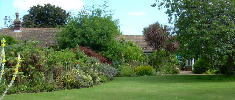 Lawn with beautiful flower borders beyond at Denmans Garden.