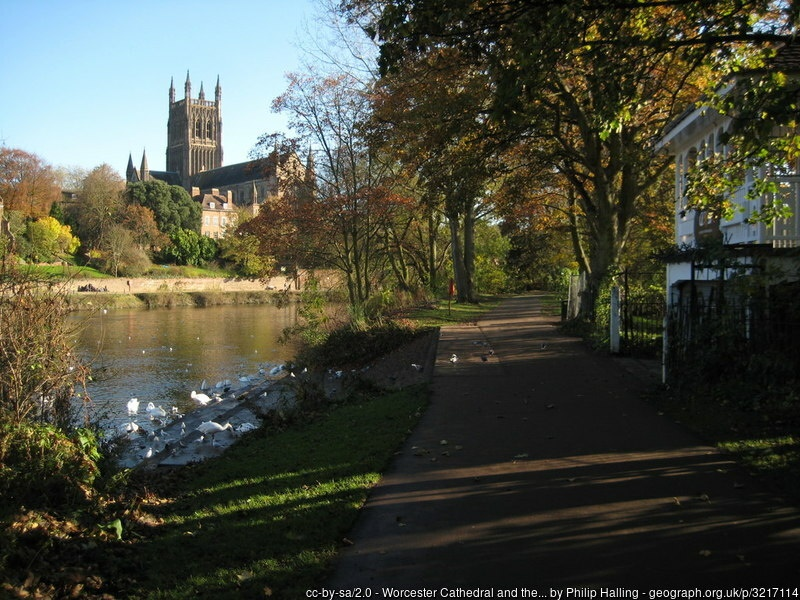 View of Worcester Cathedral across the river Severn