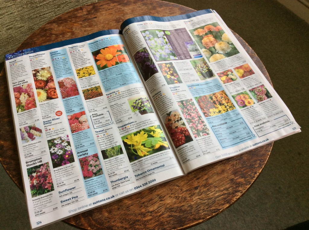 Flower seed catalogue open page