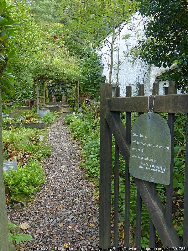The garden at Wordsworth's Dove Cottage , Grasmere