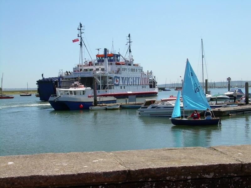 Isle of White ferry leaving Lymington harbour.