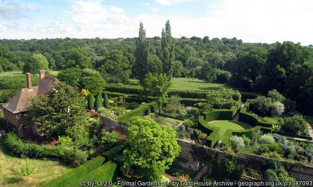Sissinghurst garden viewed from the Eizabethan Tower