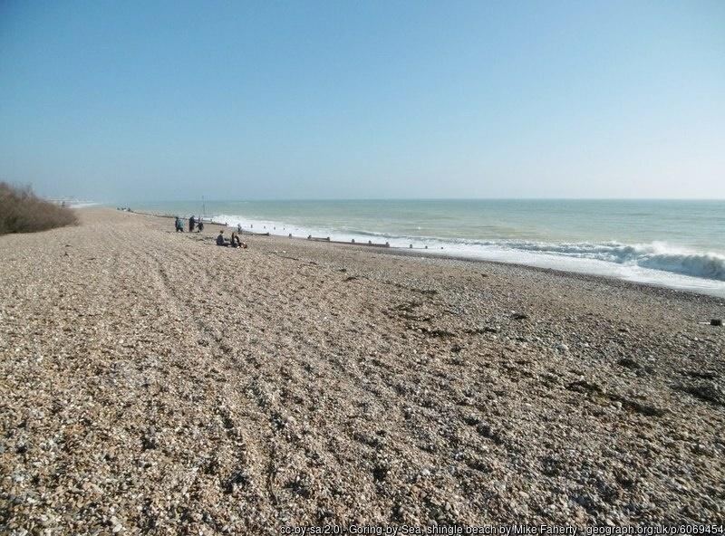 Stoney beach on sunny day